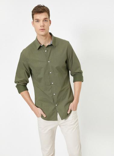Koton %100 Pamuk Desenli Uzun Kollu Gömlek Yeşil